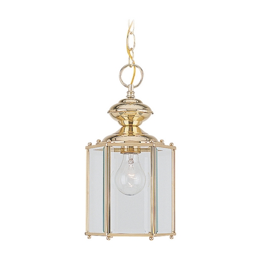 Sea Gull Lighting Outdoor Hanging Light with Clear Glass in Polished Brass Finish 6008-02