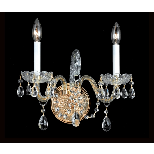 Crystorama Lighting Crystal Sconce Wall Light in Polished Brass Finish 1102-PB-CL-SAQ