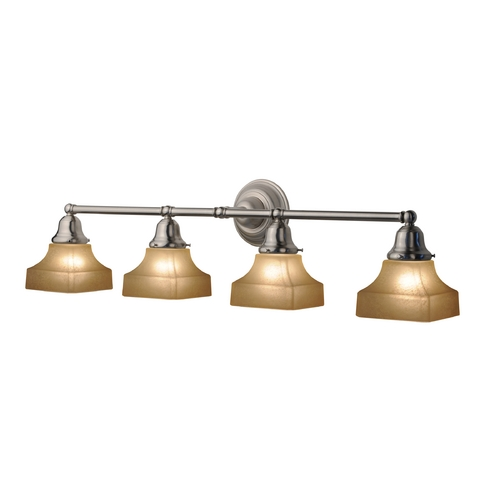 Design Classics Lighting Four-Light Bathroom Vanity Light with Square Shades 674-09/G9415C KIT