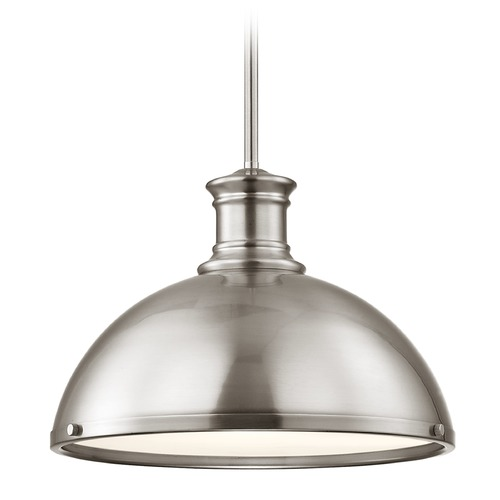Design Classics Lighting Industrial Pendant Light Satin Nickel13.38-Inch Wide 1761-09 SH1776-09 R1776-09