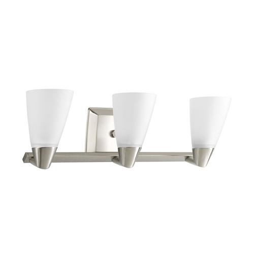 Progress Lighting Progress Bathroom Light with White Glass in Brushed Nickel Finish P2807-09