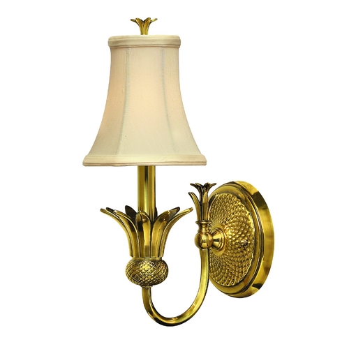 Hinkley Lighting Sconce Wall Light with Beige / Cream Shade in Burnished Brass Finish 4880BB