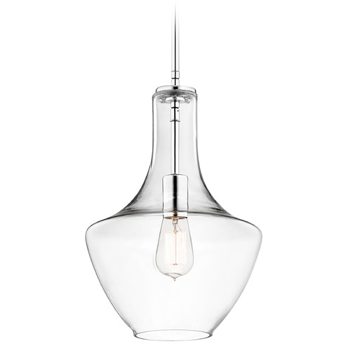 Kichler Lighting Kichler Lighting Everly Chrome Pendant Light with Bowl / Dome Shade 42141CHCLR
