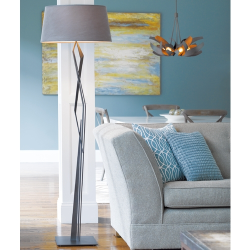 Hubbardton Forge Lighting Hubbardton Forge Lighting Facet Dark Smoke Floor Lamp with Empire Shade 232850-07-682