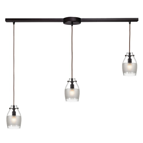 Elk Lighting Elk Lighting Carved Glass Oil Rubbed Bronze Multi-Light Pendant with Bowl / Dome Shade 46162/3L