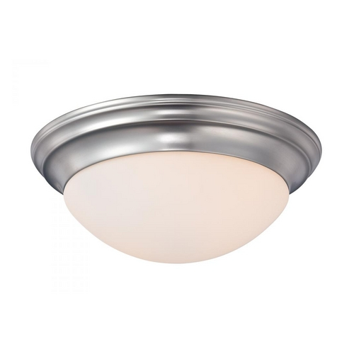 Quoizel Lighting Flushmount Light with White Glass in Brushed Nickel Finish SMT1617BN