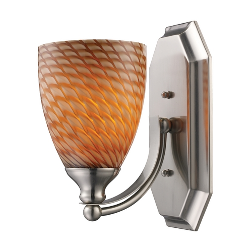 Elk Lighting Sconce with Art Glass in Satin Nickel Finish 570-1N-C