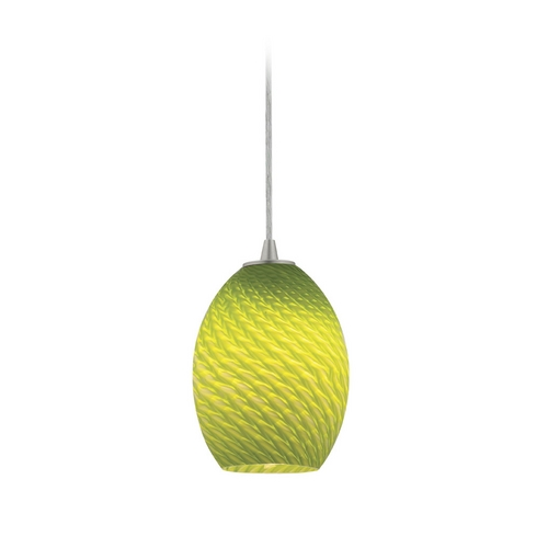 Access Lighting Modern Mini-Pendant Light with Green Glass 28023-1C-BS/LGRFB