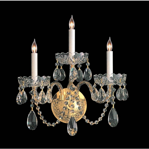 Crystorama Lighting Crystal Sconce Wall Light in Polished Brass Finish 1103-PB-CL-MWP