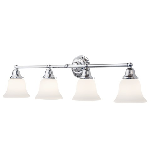 Vanity Light No Shades : Four-Light Bathroom Vanity Light with Bell Shades 674-26/G9110 KIT Destination Lighting