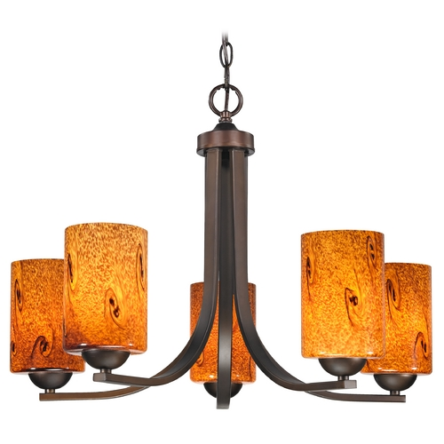 Design Classics Lighting Modern Chandelier with Brown Art Glass in Bronze Finish 584-220 GL1001C