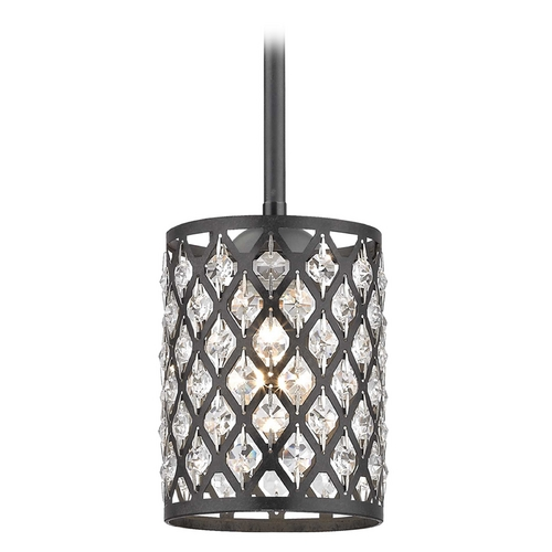 Design Classics Lighting Crystal Matte Black & Phoenix Stem Hung Mini-Pendant Light 581-07 GL1046-148