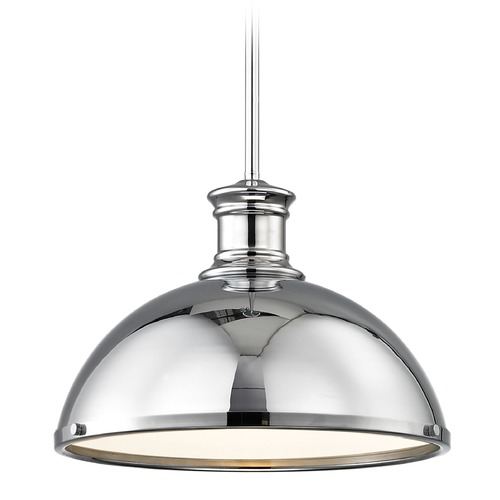 Design Classics Lighting Chrome Pendant Light with Metal Shade 13.38-Inch Wide 1761-26 SH1776-26 R1776-26
