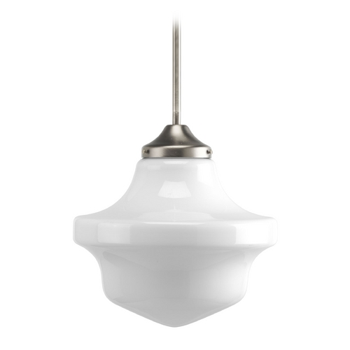 Progress Lighting Progress Schoolhouse Pendant Light with White Glass P5195-09