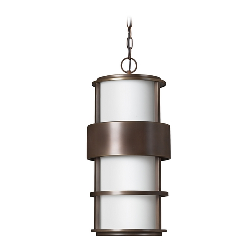 Hinkley Lighting Outdoor Hanging Light with White Glass in Metro Bronze Finish 1902MT-GU24