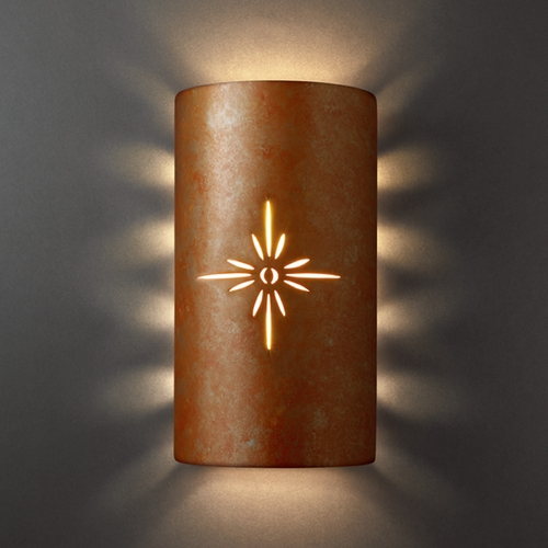 Justice Design Group Outdoor Wall Light in Rust Patina Finish CER-9015W-PATR
