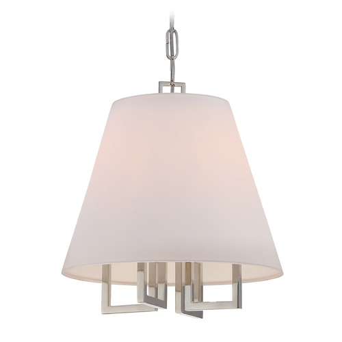 Crystorama Lighting Crystorama Lighting Westwood Polished Nickel Pendant Light with Empire Shade 2254-PN