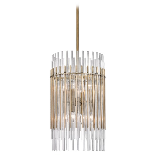 Hudson Valley Lighting Hudson Valley Lighting Wallis Aged Brass Pendant Light with Cylindrical Shade 6315-AGB