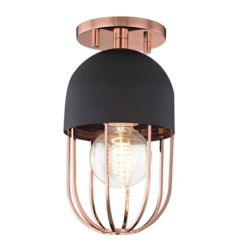 Mitzi by Hudson Valley Mid-Century Modern Semi-Flushmount Light Copper Mitzi Haley by Hudson Valley H145601-POC/BK