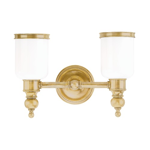 Hudson Valley Lighting Bathroom Light with White Glass in Aged Brass Finish 6302-AGB