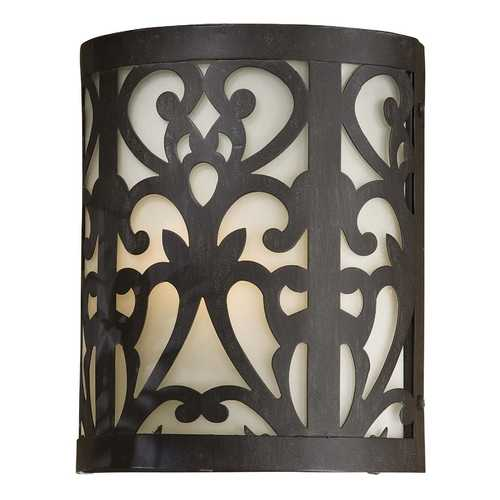 Minka Lavery Outdoor Wall Light with Beige / Cream Glass in Iron Oxide Finish 1490-A357-PL