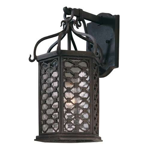Troy Lighting Outdoor Wall Light with Clear Glass in Old Iron Finish B2372OI
