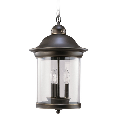 Sea Gull Lighting Outdoor Hanging Light with Clear Glass in Antique Bronze Finish 60081-71