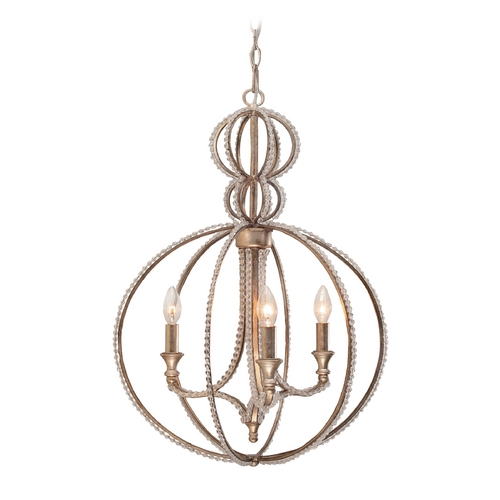 Crystorama Lighting Crystal Pendant Light in Distressed Twilight Finish 6765-DT