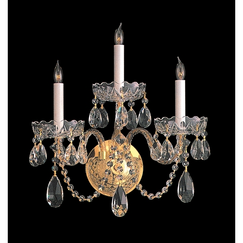 Crystorama Lighting Crystal Sconce Wall Light in Polished Brass Finish 1103-PB-CL-S