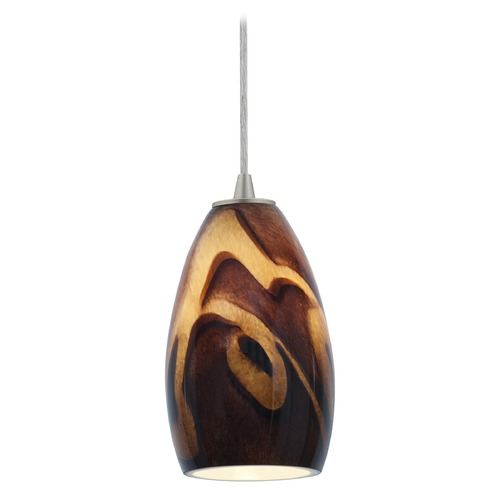 Access Lighting Access Lighting Sydney Inari Silk Brushed Steel Mini-Pendant with Oblong Shade 28012-1C-BS/ICA