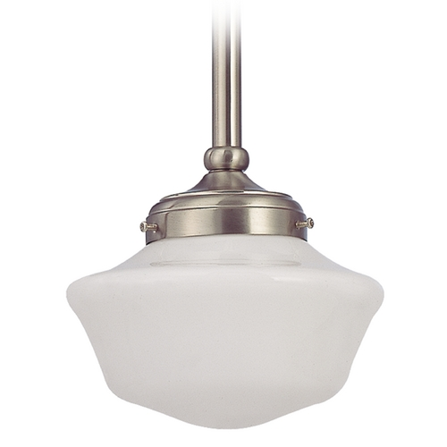 Design Classics Lighting 8-Inch Schoolhouse Mini-Pendant Light in Satin Nickel FA4-09 / GA8