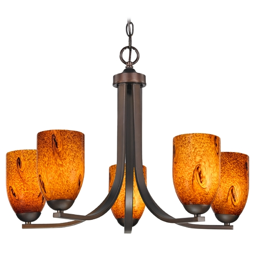 Design Classics Lighting Modern Chandelier with Brown Art Glass in Bronze Finish 584-220 GL1001D