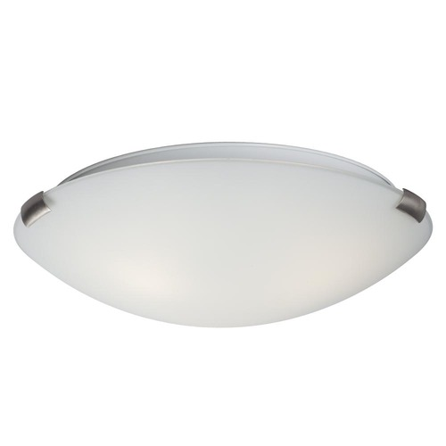 Galaxy Excel Lighting 16-Inch Flushmount with White Glass - Brushed Nickel Finish 680416BN/WH
