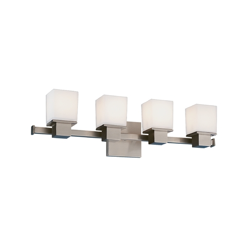 Hudson Valley Lighting Modern Bathroom Light with White Glass in Satin Nickel Finish 4444-SN