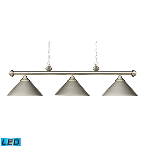 Elk Lighting Elk Lighting Casual Traditions Satin Nickel LED Billiard Light with Conical Shade 168-SN-LED