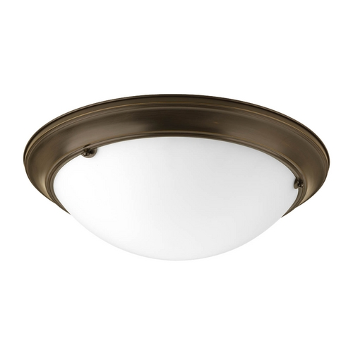 Progress Lighting Flushmount Light with White Glass in Antique Bronze Finish P7316-20WB