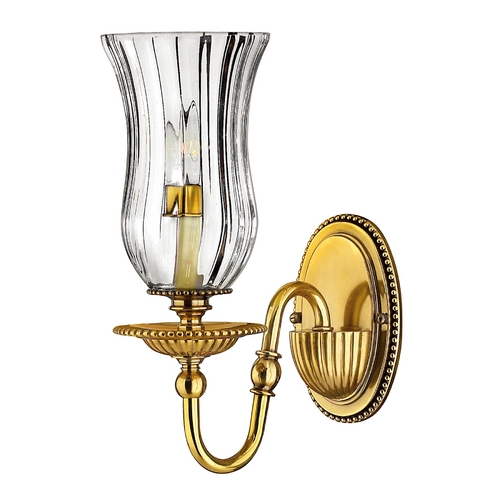 Hinkley Lighting Sconce Wall Light with Clear Glass in Burnished Brass Finish 4640BB