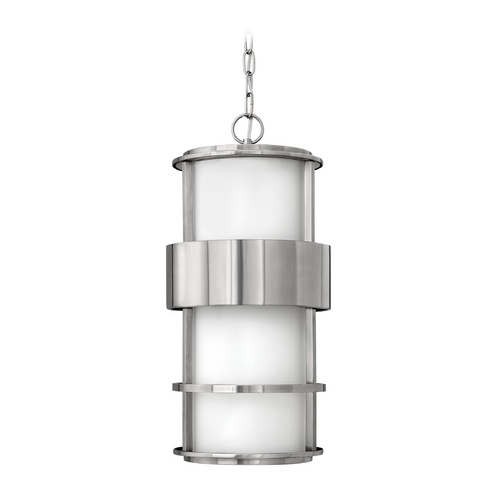 Hinkley Lighting Outdoor Hanging Light with White Glass in Stainless Steel Finish 1902SS-GU24