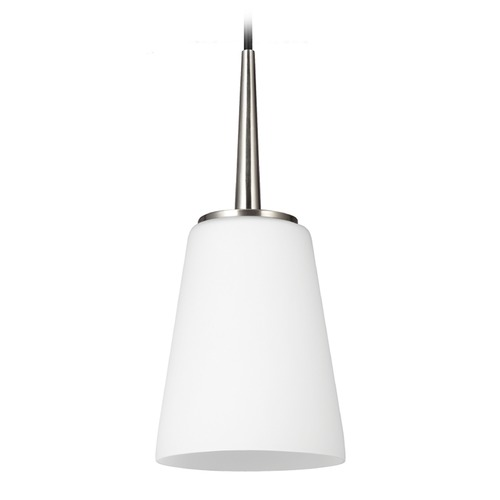 Sea Gull Lighting Sea Gull Lighting Driscoll Brushed Nickel Mini-Pendant Light with Empire Shade 6140401BLE-962