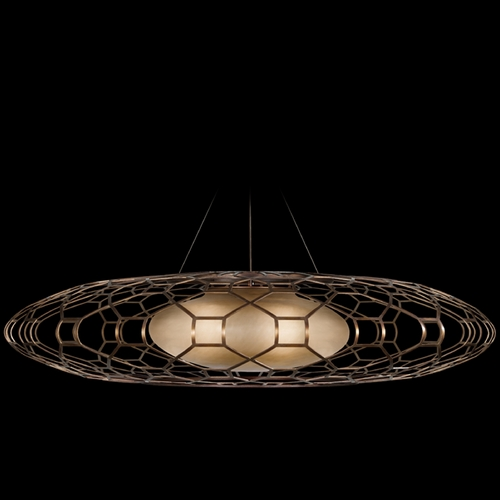 Fine Art Lamps Fine Art Lamps Entourage Rich Bourbon with Golden Mist Highlights Pendant Light with Oblong Shade 817340ST