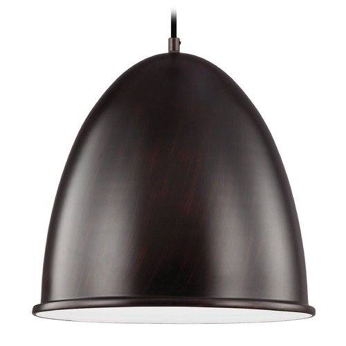 Sea Gull Lighting Sea Gull Lighting Hudson Street Burnt Sienna LED Pendant Light with Bowl / Dome Shade 6525491S-710