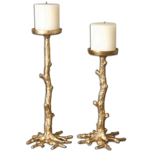 Uttermost Lighting Uttermost Maple Gold Candleholders, Set of 2 19886