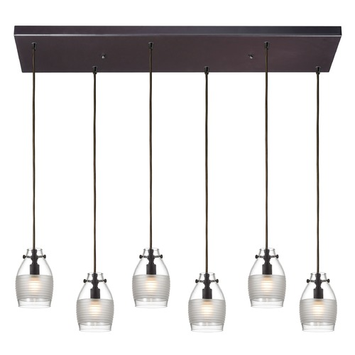 Elk Lighting Elk Lighting Carved Glass Oil Rubbed Bronze Multi-Light Pendant with Bowl / Dome Shade 46162/6RC
