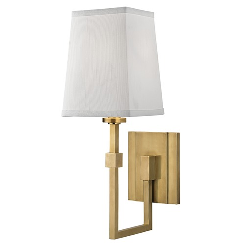 Hudson Valley Lighting Fletcher 1 Light Sconce Square Shade - Aged Brass 1361-AGB