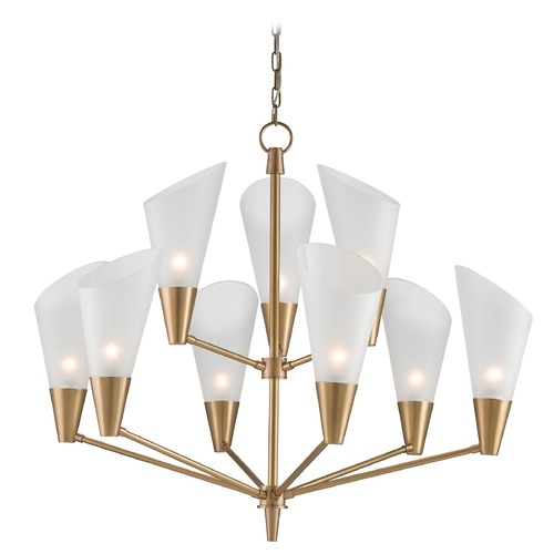 Currey and Company Lighting Currey and Company Cornet Satin Brass/opaque Chandelier 9749
