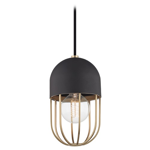 Hudson Valley Lighting Mid-Century Modern Mini-Pendant Light Brass Mitzi Haley by Hudson Valley H145701-AGB/BK