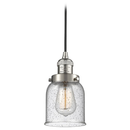 Innovations Lighting Innovations Lighting Small Bell Brushed Satin Nickel Mini-Pendant Light with Bell Shade 201C-SN-G54