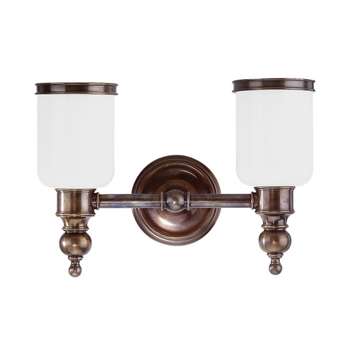 Hudson Valley Lighting Bathroom Light with White Glass in Antique Nickel Finish 6302-AN