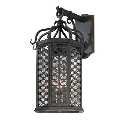 Troy Lighting Outdoor Wall Light with Clear Glass in Old Iron Finish B2373OI