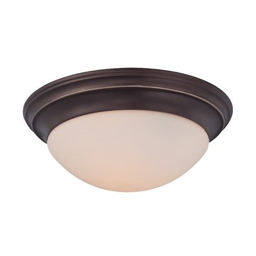 Quoizel Lighting Flushmount Light with White Glass in Palladian Bronze Finish SMT1617PN